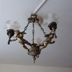 Bronzen cupido met 3 lampen