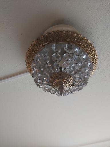 Klein bronzen kristallen plafonnière